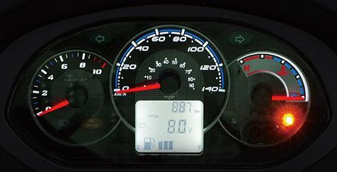 新型RV125iのアナログスピードメーター