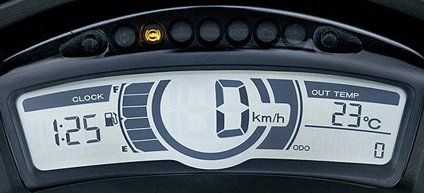 新型トリシティ125のデジタルスピードメーター