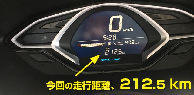 3代目PCX、ツーリング走行距離212km