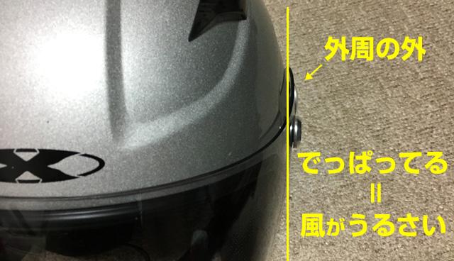 メットのスクリーンシールドが外側に出っ張っているとうるさい。安いヘルメット