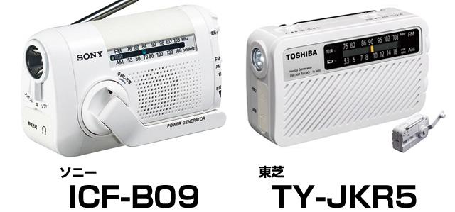 停電・災害時には電池を使わない手回し発電式のラジオが便利。