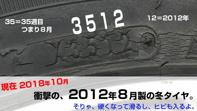 タイヤの製造年の確認方法。2012年8月生産とわかる。