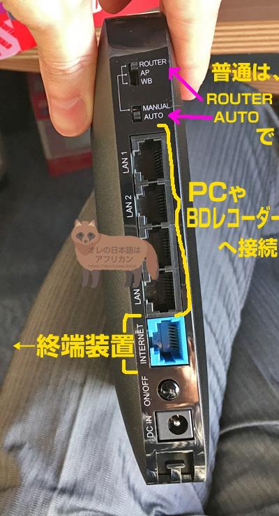 WSR-2533DHPLの裏側。LANコネクタなど。