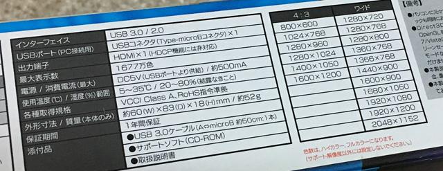 USB-RGB3/Hの出力解像度について