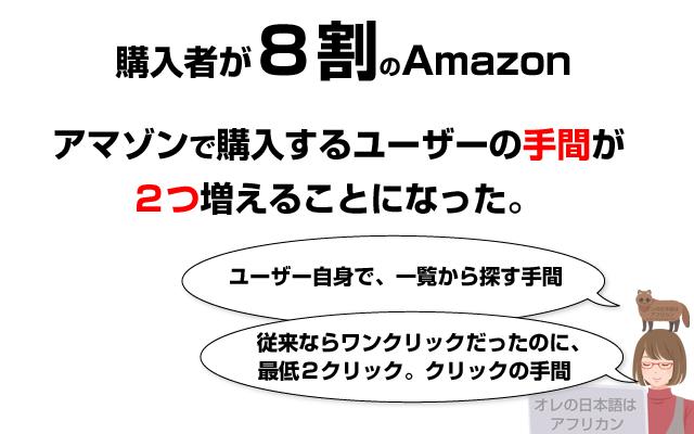 8割のAmazonユーザーの手間が増えることになった。