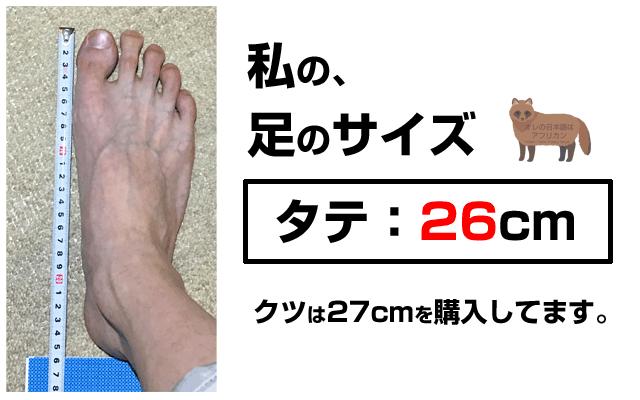 足のサイズ、実寸26cm