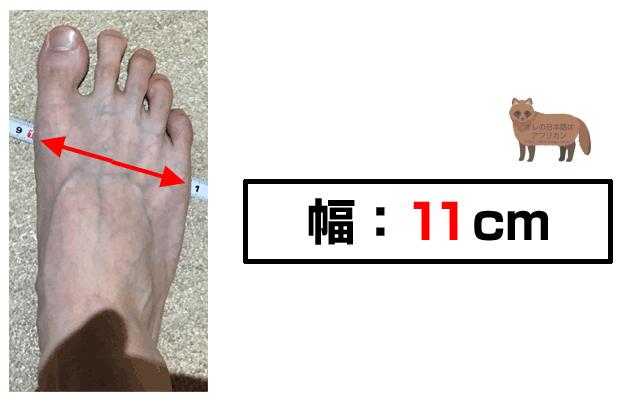 足のサイズ、幅の実寸11cm