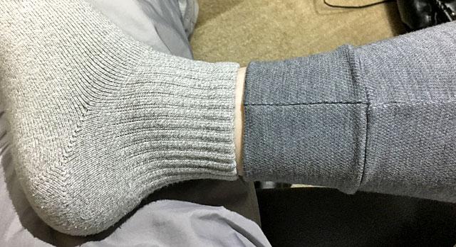 短いので足首が露出して寒い