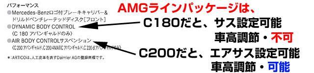 AMGラインの内容が違う。C180とC200