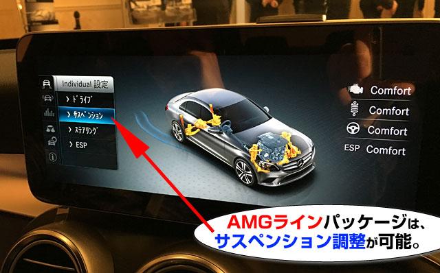 AMGラインだと、サスペンションの調節が可能。