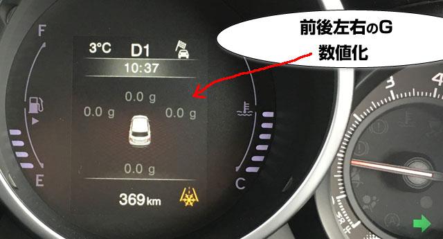 インフォメーションには、前後左右の横Gグラフが表示される。