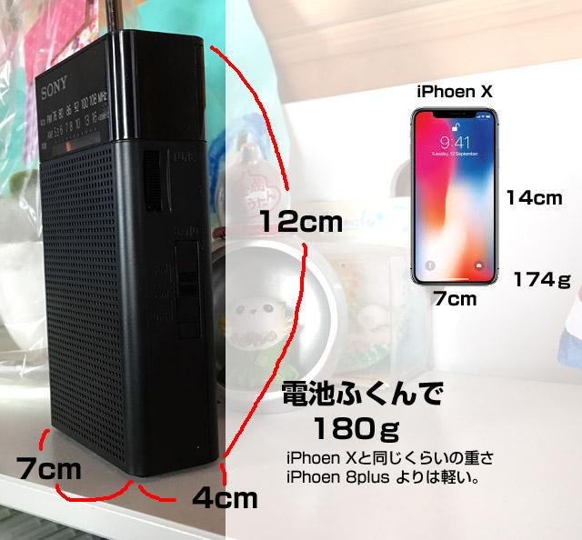 ICF-P26のサイズと重さ。iphonexと同等。