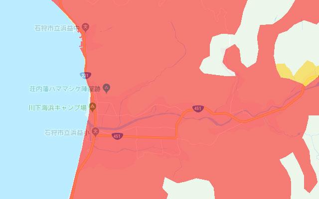 auのスマホ・ケータイのLTEエリア、北海道浜益区。