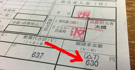 レッドバロンはオイル交換代は630円(税込み)