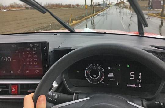 ロッキーを雨の中、加速テスト。