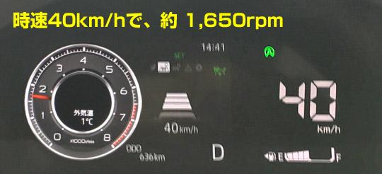ロッキー40km/hのエンジン回転数は1650rpm