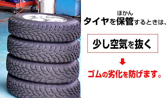 タイヤを保管する際は空気を抜くのが良い