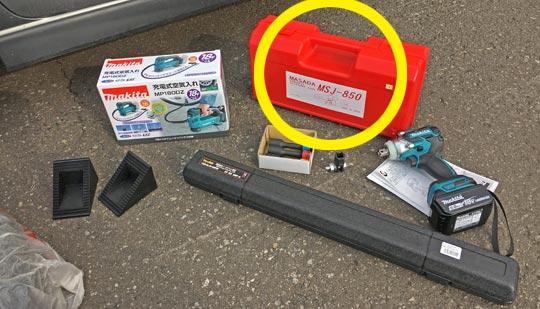マサダの油圧パンタジャッキでタイヤ交換してみた。