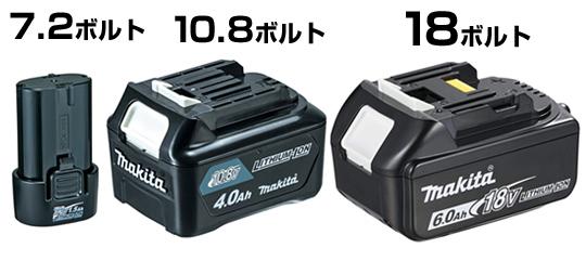 マキタのバッテリーは3種類。