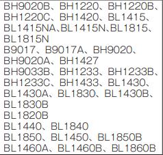 電器DC18RCのバッテリー対応表。