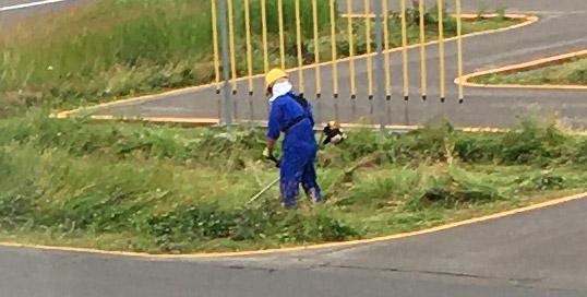 草刈りは二輪教官の仕事