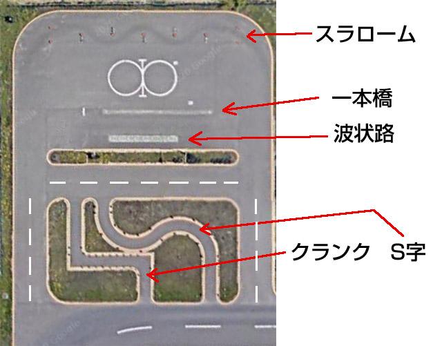中央バス自動車学校のバイク用課題コース