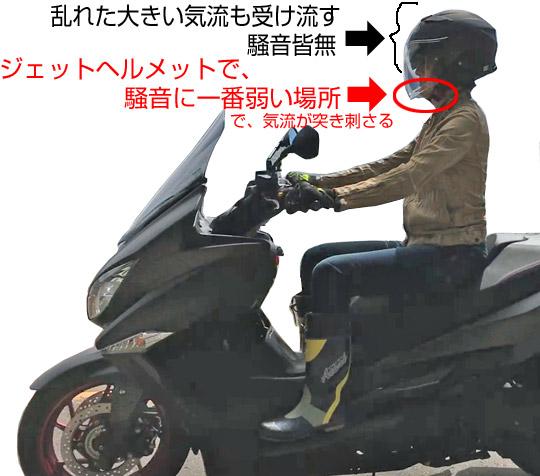 ジェットヘルメットの気流が一番乱れる場所