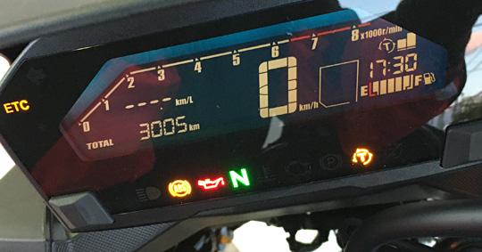 NC750XDCTのスピードメーターはデジタル仕様