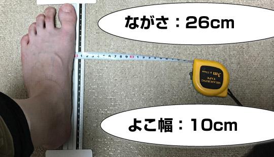 私の足の実寸サイズ。
