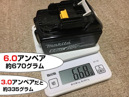 6.0アンペアバッテリーの重量は670グラム