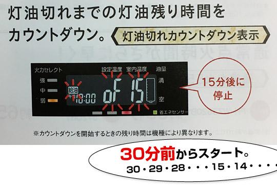 FH-WZ3620BYには灯油切れカウントダウンタイマー機能がある。