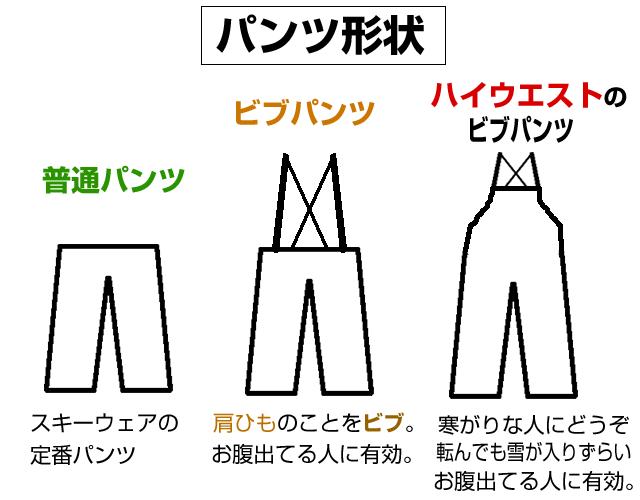 スキーパンツの形状。おすすめは肩掛けひものビブパンツ