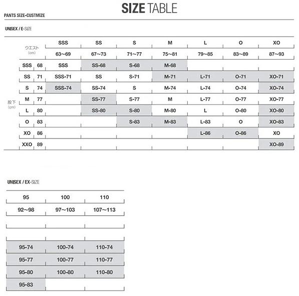 デサントのサイズ表