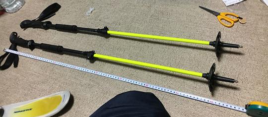 短く収納するとスキーポールストックの長さは93cm