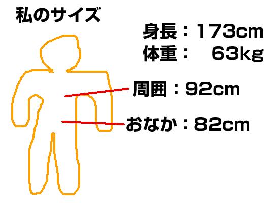 私のサイズは173cm、63kg