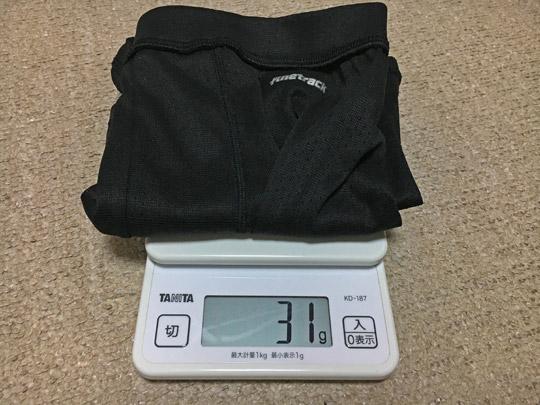 ドライレイヤーパンツの重量31g